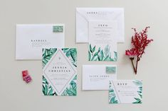 This exotic yet modern suite features neutral botanicals that complement any wedding theme with greenery or florals. The design is completely Botanical Wedding Invitations, Wedding Invitation Envelopes, Beautiful Wedding Invitations, Wedding Invitation Suite, Wedding Stationary, Invitation Design, Custom Invitations, Invites, Wedding Stationery