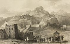"""Depiction of a section of the Great Wall of China by Thomas Allom (1845) in """"China, in a Series of Views""""."""