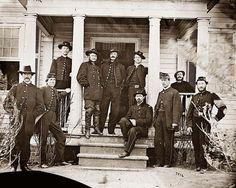 General Judson Kilpatrick and staff, Stevensburg, VA American Civil War, American History, Military Veterans, Military Service, Civil War Art, Confederate States Of America, Union Army, War Image, Civil War Photos