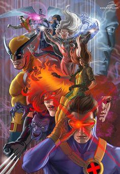 Archangel, Colossus, Psylocke, Wolverine, Storm, Jean Grey, Beast, Gambit, & Cyclops