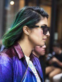 NYFW Street Style Spring 2016 - Preetma Singh's green hair color | allure.com