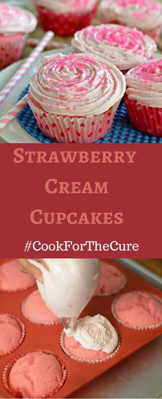 These Strawberry Cream Cupcakes are delicious and easy to make. Don't forget to make your own cupcakes and use the hashtags #10000cupcakes #donate and #cookforthecure so that KitchenAid will donate $1.00 towards finding a cure for Breast Cancer.