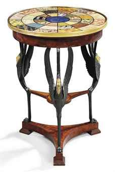 A NORTH ITALIAN EMPIRE ORMOLU-MOUNTED MAHOGANY, PARCEL-GILT, BRONZED AND SIMULATED SPECIMEN MARBLE GUERIDON LUCCA, CIRCA 1820