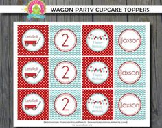 Little Red Wagon Cupcake Toppers / Red Wagon Favor Tags / Red Wagon Git Tags / Red Wagon Birthday / Red Wagon Party