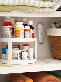 Storage-Go-Round ~ Use a lazy Susan to corral and organize medicines and pill bottles.
