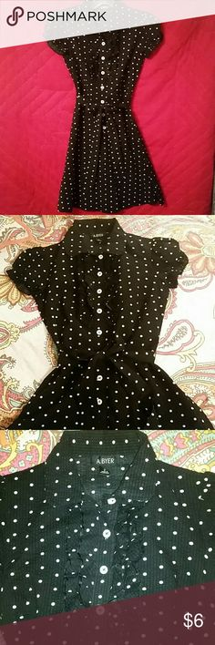 A.BYER, POLKA-DOT DRESS, SIZE 3 A.BYER, Size 3, 100% cotton, Black and white, polka-dot, dress, with ruffle accent around top buttons across chest. A. BYER Dresses Midi