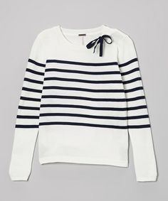 Look at this #zulilyfind! Ivory & Navy Stripe Sweater #zulilyfinds