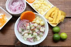 Peruvian fish cebiche or ceviche recipe prepared with fresh fish, limes, onions, spicy peppers, and cilantro. Served with corn, sweet potato, and/or plantain chips .