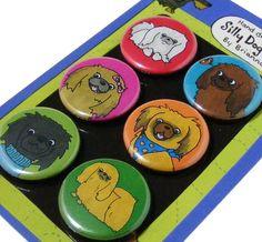 Pekingese Silly Dog Magnet Set by SillyDogMagnets on Etsy, $8.99