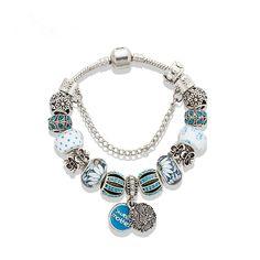 OATHYAN New Arrive Crystal Beads Bracelets Bangles Vintage Alloy Micro Inlay Blue Crystal Bracelet Enamel Pendant Bangles Women
