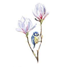 Origineel Magnolia en pimpelmees Aquarel op papier. door Zendrawing, €55.00