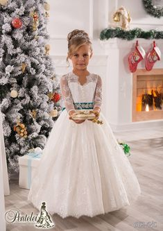 Vintage Long Sleeves Lace Ball Gown Baby Girl Birthday Party Christmas Princess Dresses Children Girl Party Dresses Flower Girl Dresses