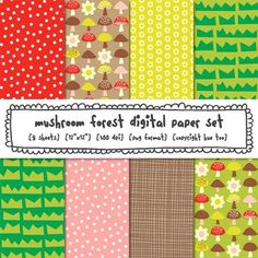 "- 8 digital paper files- png format- 12"" x 12"" size- by TpT Sellers for TpT Sellers- no additional fee for commercial use on TpTThis digital paper set is the perfect resource for creating your own woodland forest classroom printables. The set contains 8 different png files in fun patterns (mushrooms, flowers, grass and polka dots)."