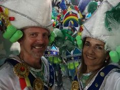 Sandra and Russell getting ready to dance down the Sambadromo with the Mocidade Independent Samba School. What an experience!
