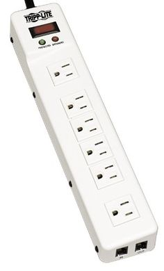 Homeplug compatible surge protected power strip