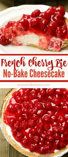French Cherry Pie No-Bake Cheesecake - A delicious easy-to-make dessert!, Desserts, French Cherry Pie No-Bake Cheesecake - A delicious easy-to-make dessert! Easy To Make Desserts, No Bake Desserts, Dessert Recipes, Baking Desserts, Homemade Desserts, Cherry Desserts, Cherry Recipes, Cherry Cake, Cherry Cheese Cake Recipes