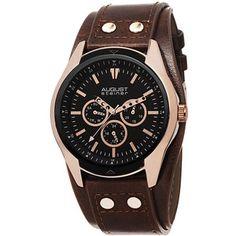 August Steiner Brown Leather Black Dial Ladies Watch
