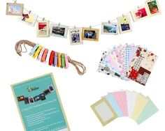 "Amazon.com - Bundle Monster Wall Deco DIY Paper Photo Frame with Mini Clothespins and Stickers - Fits 4""x 6"" Pictures - Picture Frame Sets"