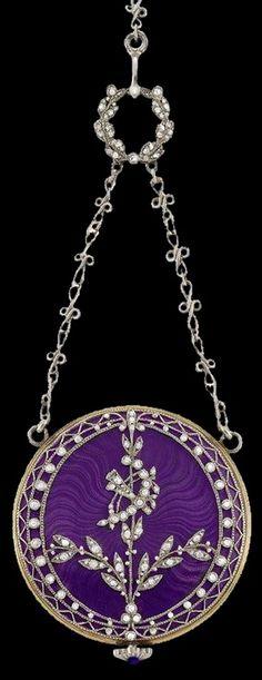 Belle Epoque platinum, gold, purple guilloche enamel and diamond pendant / watch necklace. Antique Jewelry, Vintage Jewelry, Bracelets, Necklaces, Pendant Watch, Antique Watches, Rings Cool, Watch Necklace, Purple Leather