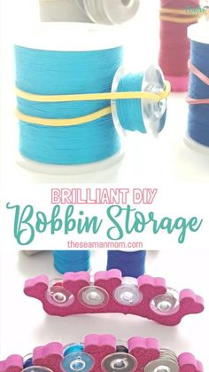 Sewing Tips 357754764152942749 - Looking for inspiring ideas for thread and bobbin storage? Storing and organizing your spools and bobbins doesn't have to cost you a thing when you make these bobbin storage ideas yourself! Bobbin Storage, Thread Storage, Sewing Room Storage, Sewing Room Organization, Sewing Rooms, Organizing, My Sewing Room, Diy Sewing Projects, Sewing Projects For Beginners