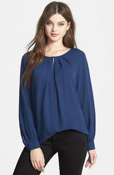 Bellatrix Pleat Neck Long Sleeve Blouse (Regular & Petite) | Nordstrom