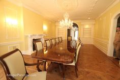 Mahogany Dining Table Extends Up To 16 Ft Shown With Regency Style Chairs
