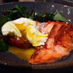 Smoked Tasmanian Sea Trout, poached egg, chinese pork sausage potato cake, grain mustard. @FlindersLaneNYC.  (Foodie Magician)