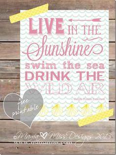 Free Live In The Sunshine Graphic Subway Art Print from Mama Miss #summer #subwayart #beach #Emerson