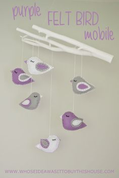 I made this purple felt bird mobile for my little girl's room. Read on for detailed instructions for how to make something similar yourself.