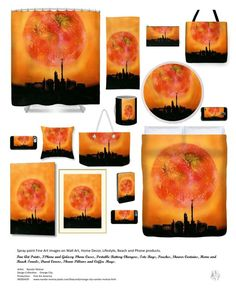 Home Decor Fine Art - Orange City - Spray Paint Fine Art Prints on Wall Art, Home Decor, Lifestyle, Beach and Phone Products - Fine Art Prints and Posters, IPhone and Galaxy Phone Cases, Portable Battery Chargers, Tote Bags, Pouches, Shower Curtains, Home and Beach Towels, Duvet Covers, Throw Pillows and Coffee Mugs - Artist: Nandor Molnar - Production: Fine Art America