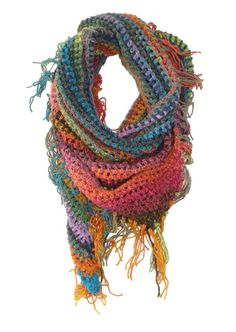 Inspiration for a triangular bandana / scarf / shawl. I love her colours. This could be made with treble crochet, or knitted drop-stitches.