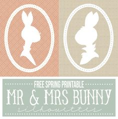 mr and mrs bunny silhouettes free spring printable