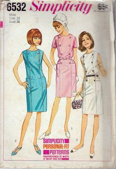 Vintage 1966 Simplicity 6532 Mod One-Piece Dress Sewing