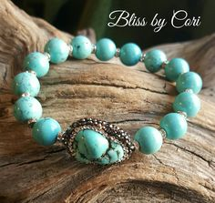 Pave Turquoise Beaded Stretch Bracelet Trio  *FREE SHIPPING* by BlissbyCori on Etsy