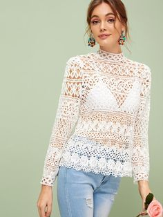 To find out about the Tie Back Sheer Mock Neck Guipure Lace Top Without Bra at SHEIN, part of our latest Blouses ready to shop online today! Fancy Tops, Lace Overlay Dress, Dress Out, Models, Pullover, Tie Backs, Classy Outfits, Mock Neck, Types Of Sleeves