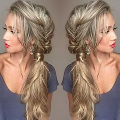 pretty + unique sideswept ponytail with a loose pull-through fishtail braid is perfect for the unconventional or romantic wedding hairstyle