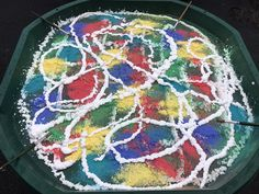 EYFS Outdoor mark making with shaving foam and powder paint