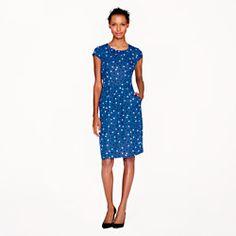 Silk cap sleeve dress in abstract dot