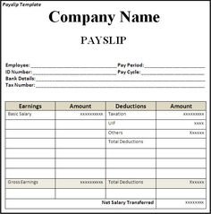 Delightful Get Employee Pay Slip Template Format | Projectmanagersinn