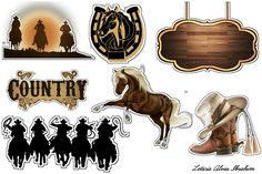 Topper Country Cowgirl Party, Cowboy And Cowgirl, Wild West Party, Silhouette Design, Planner Stickers, Cake Toppers, Gift Tags, Cute Pictures, Decoration