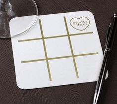 Tic-Tac-Toe custom coaster. Click here to start designing your own custom coaster for that big day. http://www.foryourparty.com/products/napkins-matches-and-barware/coasters/square-coasters/?page=1&max=0