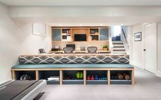 great home gym storage  Mississauga - contemporary - basement - toronto - Meghan Carter Design Inc