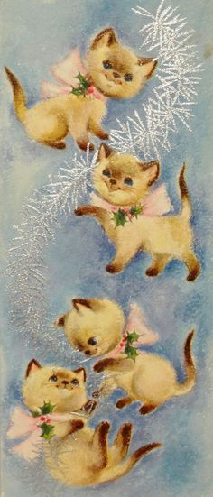 Sweet Siamese Kitty Cats w/ Tinsel-Vintage Christmas Card-Greeting