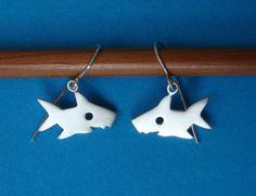 Shark Dangle Earrings sterling silver Teen Girl by zoozjewelry
