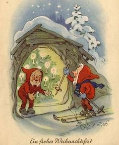 G-skiis are free on Christmas eve, but it is sometimes a difficult matter to sneak into the chimney and locate them. Old Christmas, Antique Christmas, Vintage Christmas Cards, Retro Christmas, Christmas Images, Vintage Cards, Vintage Postcards, Holiday Cards, Christmas Ideas