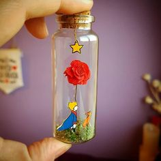 Cute Crafts, Crafts To Do, Arts And Crafts, Diy Crafts, Little Prince Party, The Little Prince, Farewell Gifts, Miniature Bottles, Bottle Charms