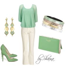Mint Chiffon blouse and ivory trousers, created by shauna-rogers on Polyvore