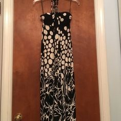 Long strapless halter dress. Strapless dress with beaded neck tie.   Never worn! Dresses Maxi
