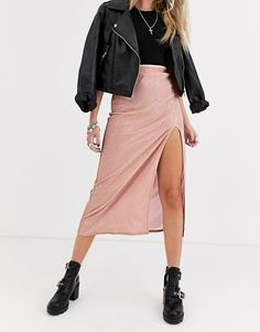 ASOS DESIGN sparkle bias slip midi skirt with thigh split Midi Skirt Outfit, Skirt Pants, Skirt Outfits, Denim Skirt, Spring Looks, Blush Pink, Spring Fashion, What To Wear, Thighs