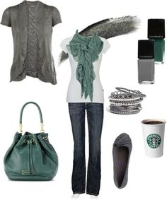 White t-shirt and gray short sleeve cardigan. With a cup of coffee, too, of course...